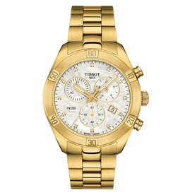 Tissot Tissot PR 100 Sport Chic Chronograph Ladies Gold Tone Mother of Pearl and Diamond Dial Watch