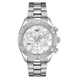 Tissot Tissot PR 100 Sport Chic Chronograph Ladies Silver Tone Mother of Pearl and Diamond Dial Watch
