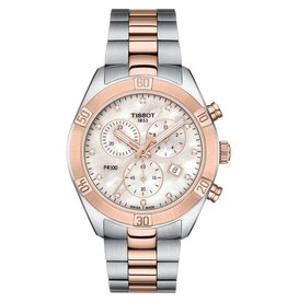 Tissot Tissot PR 100 Sport Chic Chronograph Ladies Two Tone Mother of Pearl and Diamond Dial Watch