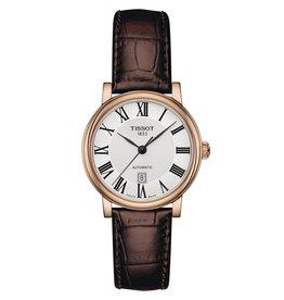 Tissot Tissot Carson Premium Automatic Lady Rose Tone Brown Leather Strap Watch