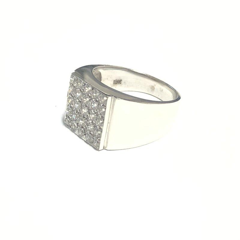 10K White Gold Mens Pavee Set CZ Ring