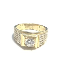 10K Yellow Gold Mens CZ Ring