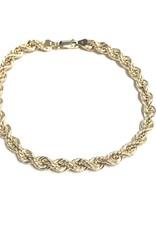 "10K Yellow Gold (5.5mm) Hollow Rope Bracelet 8.5"""