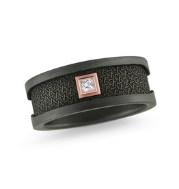 Mardini Mardini Carbon Fiber & Rose Gold Diamond Mens 14K Band