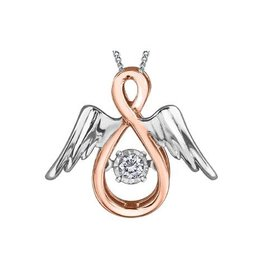 10K Rose and White Gold Dancing Diamond Angel Pendant