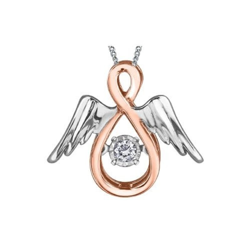 10K Rose and White Gold Dancing Diamond Angel Pendant