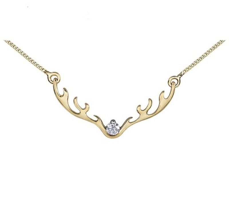 10K Yellow Gold (0.04ct) Canadian Diamond Antler Necklace