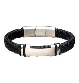 Inox Black Leather with  Stainless Steel ID Bracelet