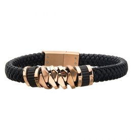 Inox Black Braided Leather with Rose Gold IP Serrated Station Bracelet