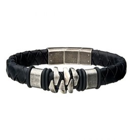 Inox Steel and Gun Metal Black Leather Bohemian Bracelet