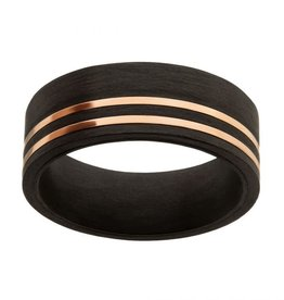 Inox Stainless Steel Solid Carbon with Inlayed Rose Gold Thin Lines Comfort Fit Ring