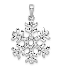 Sterling Silver Rhodium Plated Snowflake with Crystals Pendant