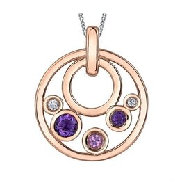 10K Rose Gold Pink Tourmaline, Amethyst & Diamond Circle Pendant