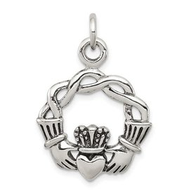 Sterling Silver Rhodium Plated Claddagh Pendant