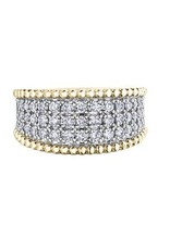 10K Yellow and White Gold (1.00ct) Diamond Pavee Set Wide Band Bubble Design Ring