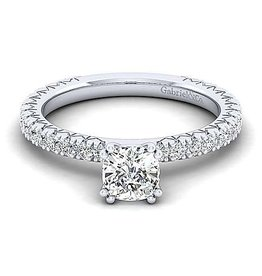 Gabriel & Co Gabriel & Co 14K White Gold Cushion Cut Diamond Engagement Ring