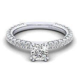 Gabriel & Co Gabriel & Co Jordan 14K White Gold Cushion Cut Diamond Semi Mount Engagement Ring