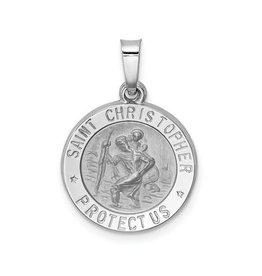 Sterling Silver Rhodium Plated St. Christopher Pendant