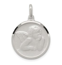Sterling Silver Rhodium Plated Satin Angel Pendant