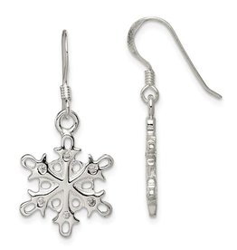 Sterling Silver Rhodium Plated CZ Snowflake Dangle Earrings