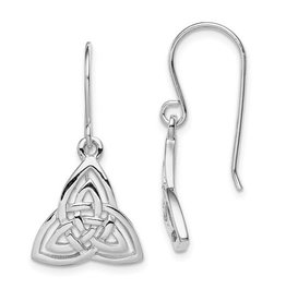 Sterling Silver Rhodium Plated Celtic Knot Dangle Earrings