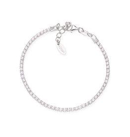 Amen Sterling Silver Rhodium Plated CZ Adjustable Tennis Bracelet