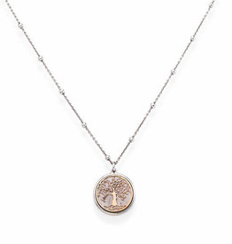 Amen Sterling Silver Rhodium & Rose Plated Tree of Life Necklace