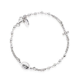 Amen Sterling Silver Rhodium Plated CZ Rosary Bracelet