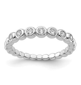 Quality Gold Sterling Silver Rhodium Plated CZ Bubble Ring