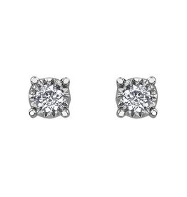 10K White Gold Diamond Solitaire (0.03ct - 0.50ct) Stud Earrings