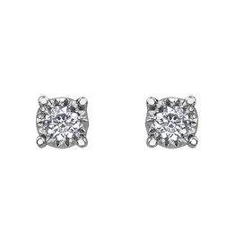 10K White Gold Illusion Set (0.03ct - 0.50ct) Stud Earrings