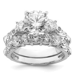 Sterling Silver Rhodium Plated CZ Wedding Rings Set