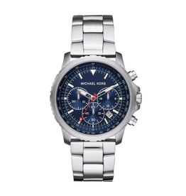 Micheal Kors Theroux Men's Chronograph Silver Tone Blue Dial  Watch