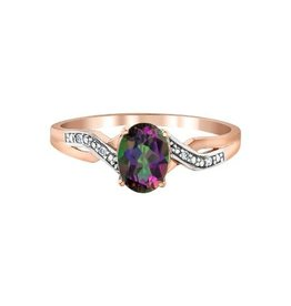 10K Rose Gold Mystic Topaz and Diamond Ring