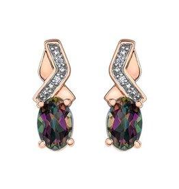 10K Rose Gold Mystic Topaz and Diamond Earrings