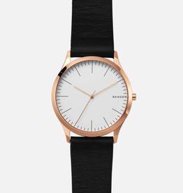 Skagen Skagen Jorn Men's Rose Tone Black Leather Strap Watch