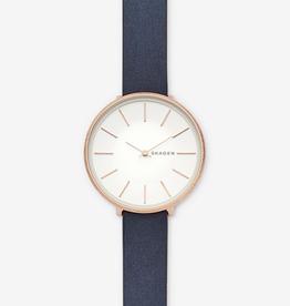 Skagen Skagen Karolina Ladies Rose Tone Blue Leather Strap Watch