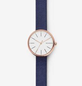 Skagen Skagen Signatur Ladies Rose Tone Blue Leather Strap Watch