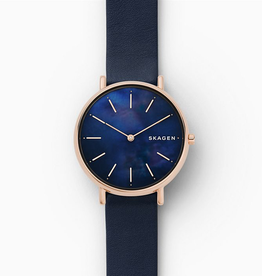 Skagen Skagen Signatur Slim Ladies Rose Tone Blue Mother of pearl Dial with Blue Leather Strap Watch