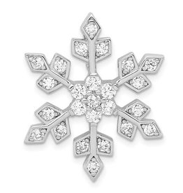 Sterling Silver Rhodium Plated CZ Snowflake Pendant