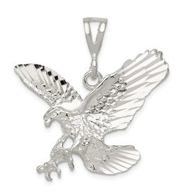 Sterling Silver Rhodium Plated Eagle Pendant