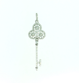Sterling Silver Rhodium Plated CZ Key Necklace