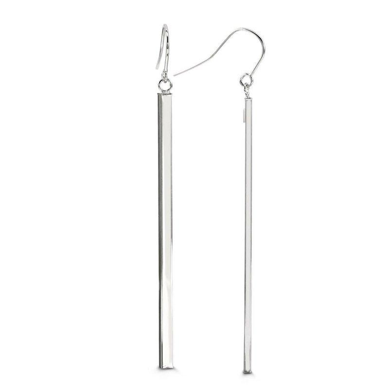 10K White Gold Plain Bar Dangle Earrings