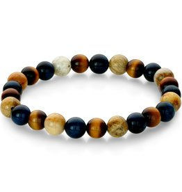 Blue & Yellow Tiger's Eye with Chrysanthemum Beads Stretch Bracelet