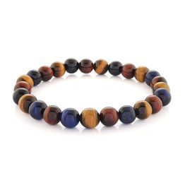 Yellow, Blue & Red Tiger's Eye Beaded Stretch Bracelet