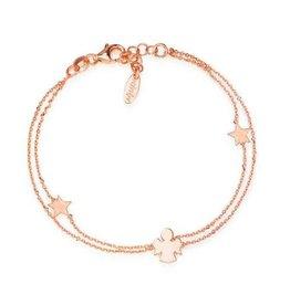 Sterling Silver Rose Gold Plating Star and Angel Bracelet