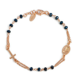 Amen Sterling Silver Rose Gold Plated Grey Crystals Rosary Bracelet