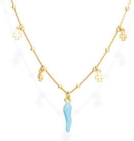Amen Sterling Silver Gold Plating Light Blue Italian Horn Necklace