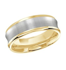Malo 10K Yellow and White Gold (7mm) Concave Wedding Band