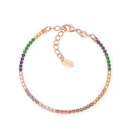 Amen Sterling Silver Rose Gold Plated Multi Colored CZ Bracelet